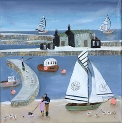 Cuddles on the beach by Lucy Young -  sized 8x8 inches. Available from Whitewall Galleries